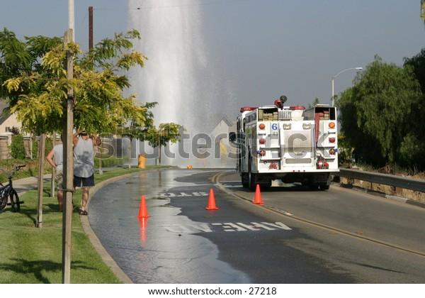 Shutting down broken off hydrant