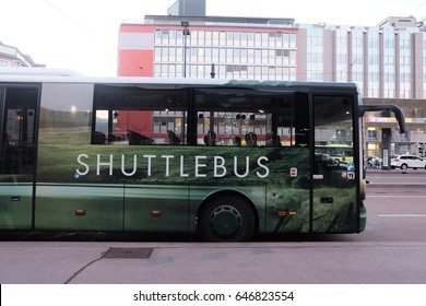 Shuttle bus stop in front of the bus station
