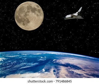 Shuttle, earth and moon. Outer space. The elements of this image furnished by NASA.