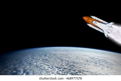 Shuttle rocket spaceship launch rocketship spacecraft mission planet Earth outer space. Elements of this image furnished by NASA.