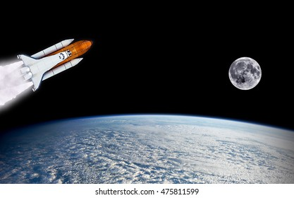 Shuttle rocket spaceship launch rocketship moon mission planet Earth outer space. Elements of this image furnished by NASA.