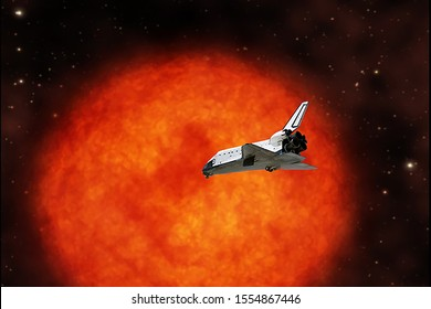 Shuttle and sun on the background. The elements of this image furnished by NASA.