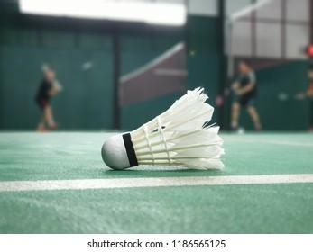 shuttlecock on badminton court