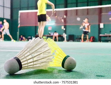 The shuttlecock on the badminton court in tournament competition game