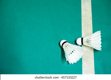 Shuttlecock on badminton playing court