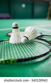 shuttlecock on badminton racket.