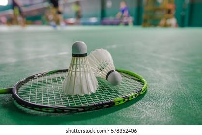shuttlecock on badminton racket Soft-focus image
