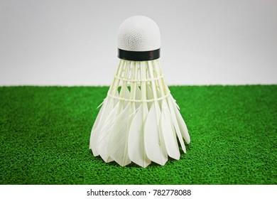 Shuttlecock, On Green floor, Badminton sport