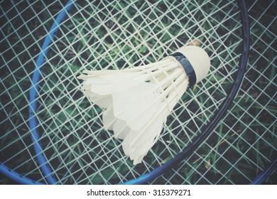 Shuttlecocks with badminton racket on green grass