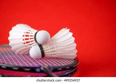 Shuttlecocks on badminton racket against red background.