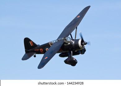 SHUTTLEWORTH, BEDFORDSHIRE, UK - JUNE 30: Westland Lysander flying on June 30, 2013 at the Shuttleworth Air Display in Shuttleworth, Old Warden, Bedfordshire, UK.