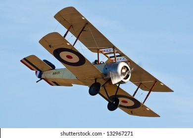 SHUTTLEWORTH, BEDFORDSHIRE, UK - OCTOBER 2: Sopwith Pup flying on October 2, 2011 at the Shuttleworth Air Display in Shuttleworth, Old Warden, Bedfordshire, UK.