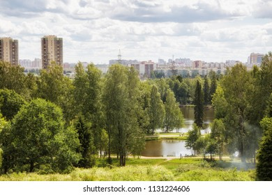 Shuvalovsky Park on outskirts of St. Petersburg. View from Parnassus Hill to ponds of Napoleon's Hat and Napoleon's Shirt and residential quarters