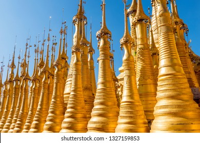 Shwe Indein golden pagodas are beautiful stone stupas hidden in a remote area of Myanmar at  lake Inle. Shan state, Myanmar