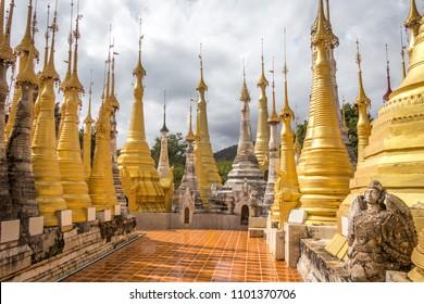 Shwe Inn Dain Pagoda, Inle lake, Myanmar. Ancient Inn Dain complex consists of 1054 pagodas.