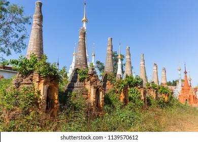Shwe Inn Dain Pagoda, at Inle Lake, in Myanmar