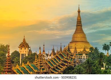 Shwedagon Beautiful Pagoda in the World. The famous pagoda in Myanmar, Yangon, Myanmar or Burma