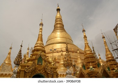The Shwedagon Pagoda and gilded stupa located in Yangon, Myanmar.