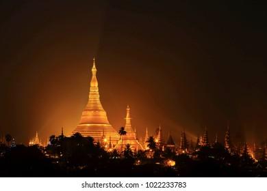 Shwedagon Pagoda also known as the Great Dagon Pagoda and the Golden Pagodain Yangon City, Landmark of Burma .Beautiful twilight The oldest historical