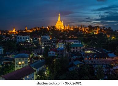 Shwedagon pagoda landmark of Yangon township of Myanmar at night.