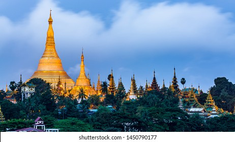 Shwedagon Pagoda at morning in Yagon City with blue sky background, Shwedagon Pagoda is beautiful pagoda in Southeast Asia, Yangon, Myanmar.