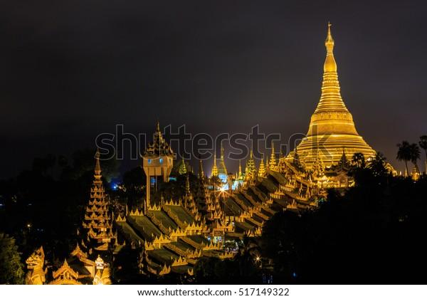 Shwedagon Pagoda am Abend, Shwedagon Zedi Daw, Great Dagon Pagoda und die Golden Pagoda, Yangon, Myanmar
