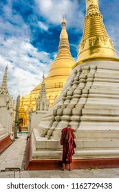 Shwedagon Pagoda (officially named Shwedagon Zedi Daw) and also known as the Great Dagon Pagoda.  A  gilded stupa located in Yangon, Myanmar.
