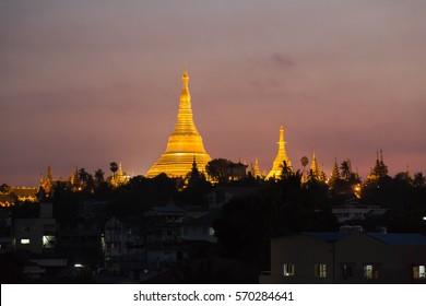 The Shwedagon pagoda at the sunset, Yangon, Myanmar