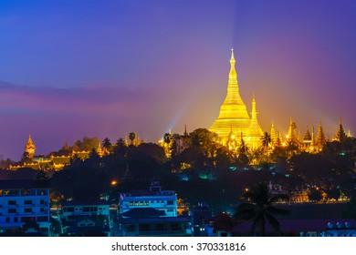 Shwedagon Pagoda at twilight