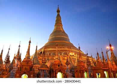 Shwedagon pagoda twilight before night in Yangon, Myanmar