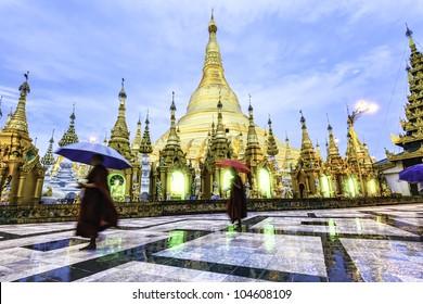 Shwedagon Pagoda in Yangon, Myanmar at early-morning. It is known as Shwedagon Zedi Daw, Great Dagon Pagoda or Golden Pagoda.
