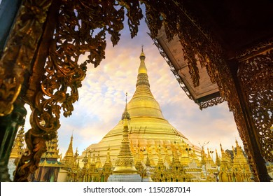 Shwedagon Pagoda in Yangon, Myanmar at sunset