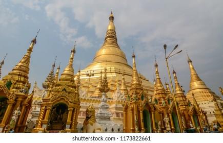 Shwedagon Paya Pagoda in Yangon, Myanmar. Shwedagon is the most sacred Buddhist pagoda in Myanmar.
