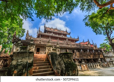 Shwenandaw Kyaung Monastery or Golden Palace Monastery, located near Mandalay Hill, Mandalay Region, Myanmar