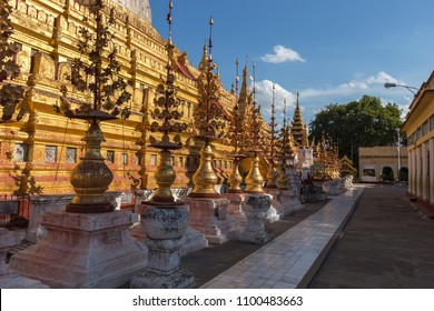 Shwezigon Pagoda in the ancient Pagan city, Myanmar. Pagan (Bagan) is the world's largest temple complex.