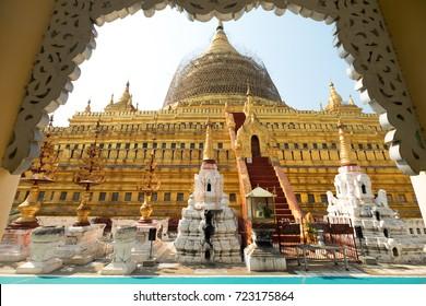 Shwezigon Paya pagoda in Bagan, Myanmar.(Burma)