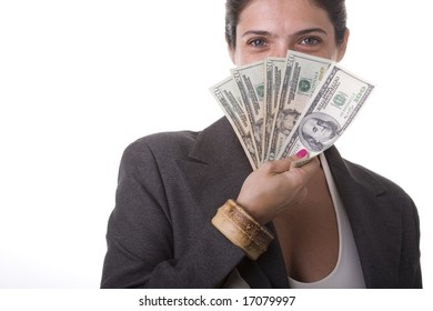 shy businesswoman showing the money she win