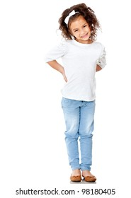 Shy little girl posing - isolated over a white background