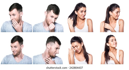 Shy, modest, blushful boy and girl composite