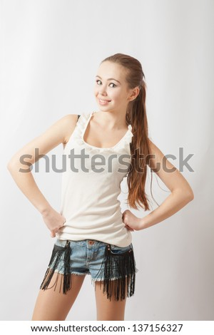 Shy Teen Girl Portrait Over White Background Glamorous Young Sexy Woman On White Background