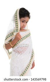 Shy Toddler Draped in a Saree, Isolated, White