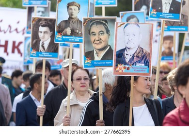 SHYMKENT city, KAZAKHSTAN MAY 9, 2015: Victory Day in memory of the soldiers of the Great Patriotic War. The photograph izobrazhon Immortal Regiment