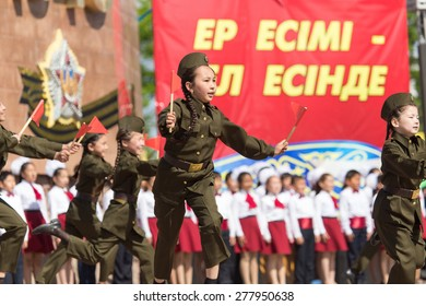 SHYMKENT city, KAZAKHSTAN MAY 9, 2015: Gala concert with the participation of children on Victory Day, in memory of the soldiers of the Great Patriotic War.
