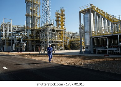 Shymkent / Kazakhstan - 09.26.2018 : Tanks, pipes and metal structures at the Petro Kazakhstan oil processing plant.