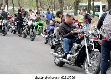 Shymkent, KAZAKHSTAN - APRIL 15, 2017: Bikes on the Opening of biker season in Shymkent, APRIL 15, 2017