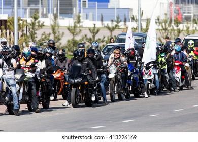 Shymkent, KAZAKHSTAN - APRIL 23, 2016: Bikes on the Opening of biker season in Shymkent, APRIL 23, 2016