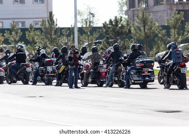 Shymkent, KAZAKHSTAN - APRIL 23, 2016: Bikes on the Opening of biker season in Shymkent, APRIL 23, 2016
