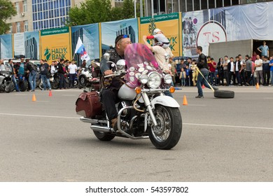 Shymkent, KAZAKHSTAN - April 23, 2016: Motorcyclists at the opening of bike season in Shymkent, 23 April 2016