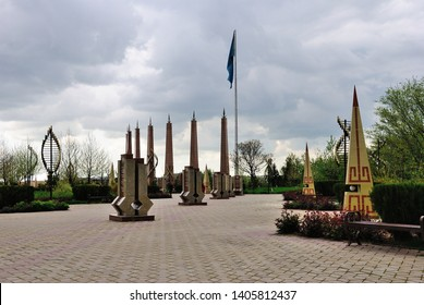 Shymkent, Kazakhstan - April 5, 2019 - View of the Independence Park in Shymkent