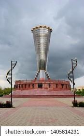 Shymkent, Kazakhstan - April 5, 2019 - Altyn Shanyrak monument in the Independence Park in Shymkent